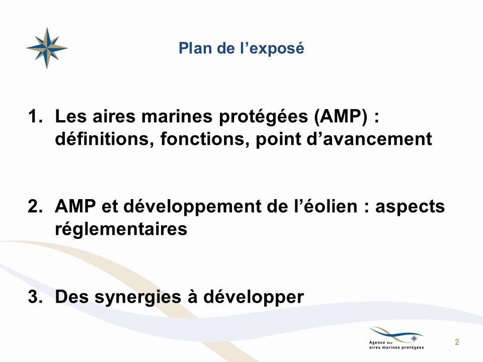Plan de lexposé 1.Les aires marines protégées (AMP) : définitions, fonctions, point davancement 2.AMP et développement de léolien : aspects réglementa