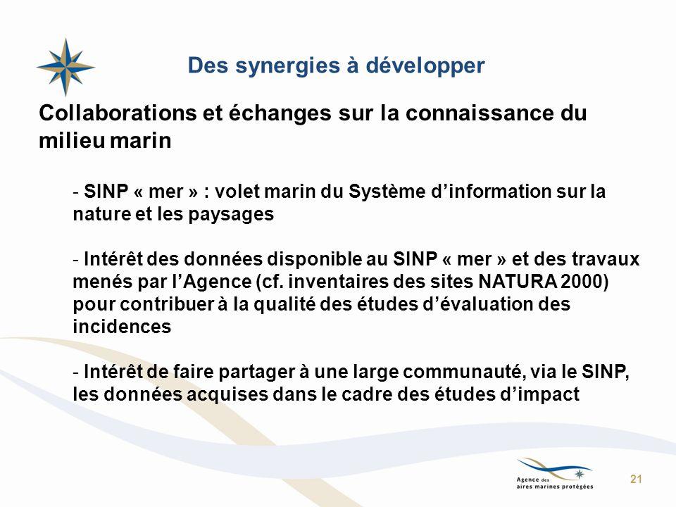 Des synergies à développer Collaborations et échanges sur la connaissance du milieu marin - SINP « mer » : volet marin du Système dinformation sur la