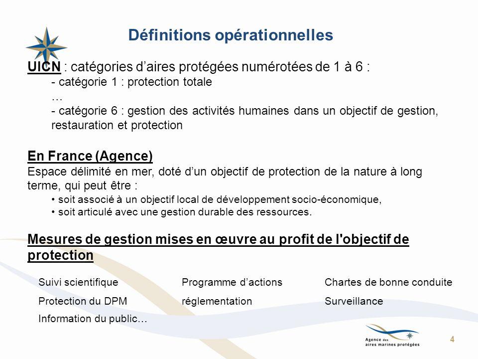 Définitions opérationnelles UICN : catégories daires protégées numérotées de 1 à 6 : - catégorie 1 : protection totale … - catégorie 6 : gestion des a