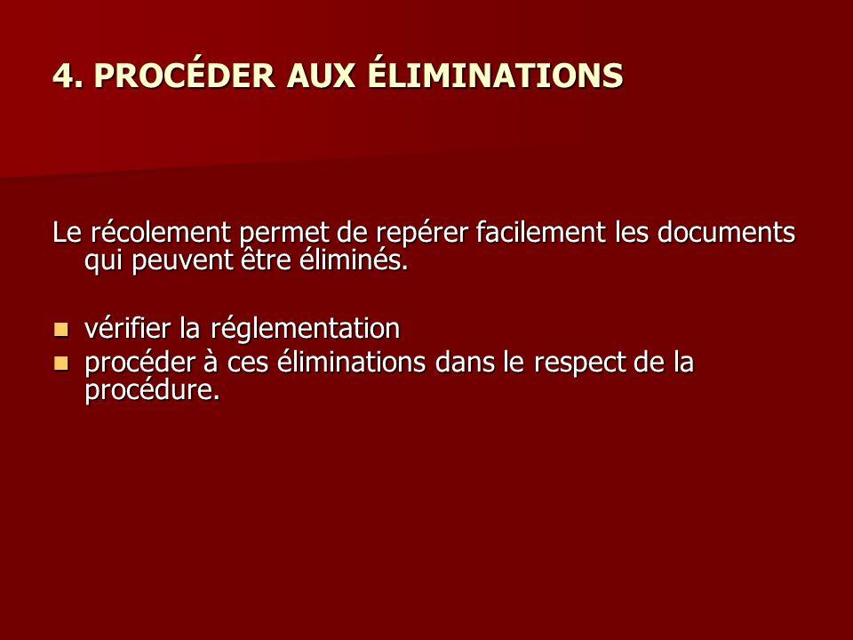 4. PROCÉDER AUX ÉLIMINATIONS Le récolement permet de repérer facilement les documents qui peuvent être éliminés. vérifier la réglementation vérifier l