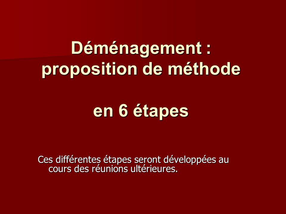 Déménagement : proposition de méthode en 6 étapes Ces différentes étapes seront développées au cours des réunions ultérieures.