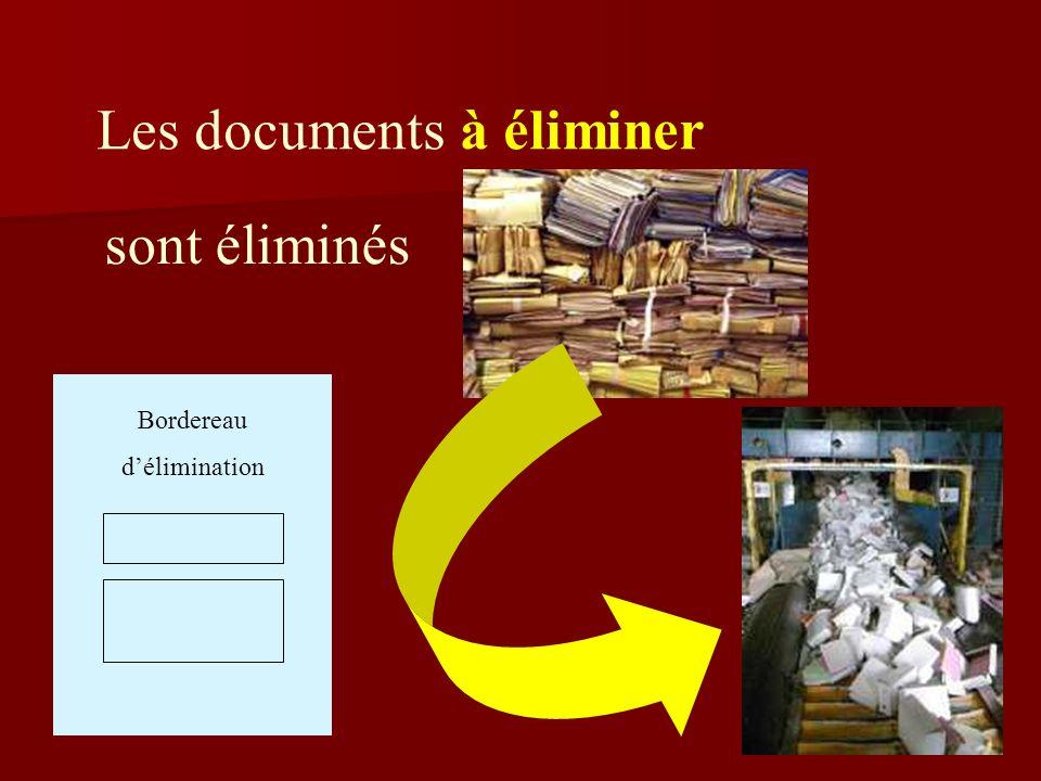 Les documents à éliminer Bordereau délimination sont éliminés