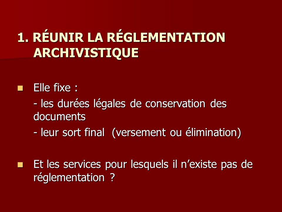 1. RÉUNIR LA RÉGLEMENTATION ARCHIVISTIQUE Elle fixe : Elle fixe : - les durées légales de conservation des documents - leur sort final (versement ou é