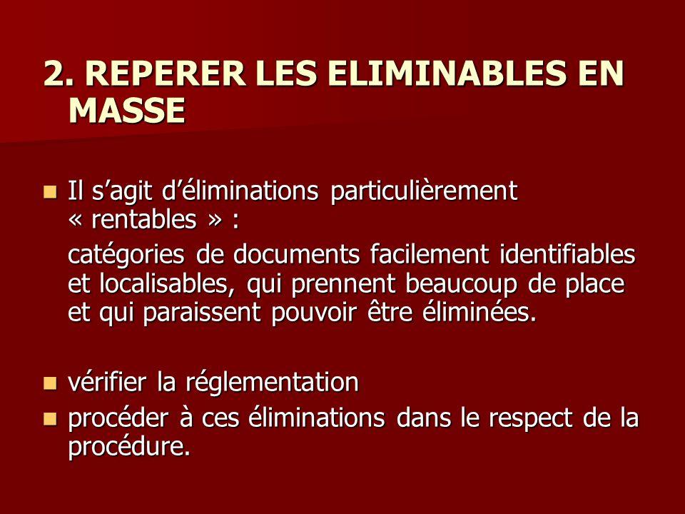 2. REPERER LES ELIMINABLES EN MASSE Il sagit déliminations particulièrement « rentables » : Il sagit déliminations particulièrement « rentables » : ca