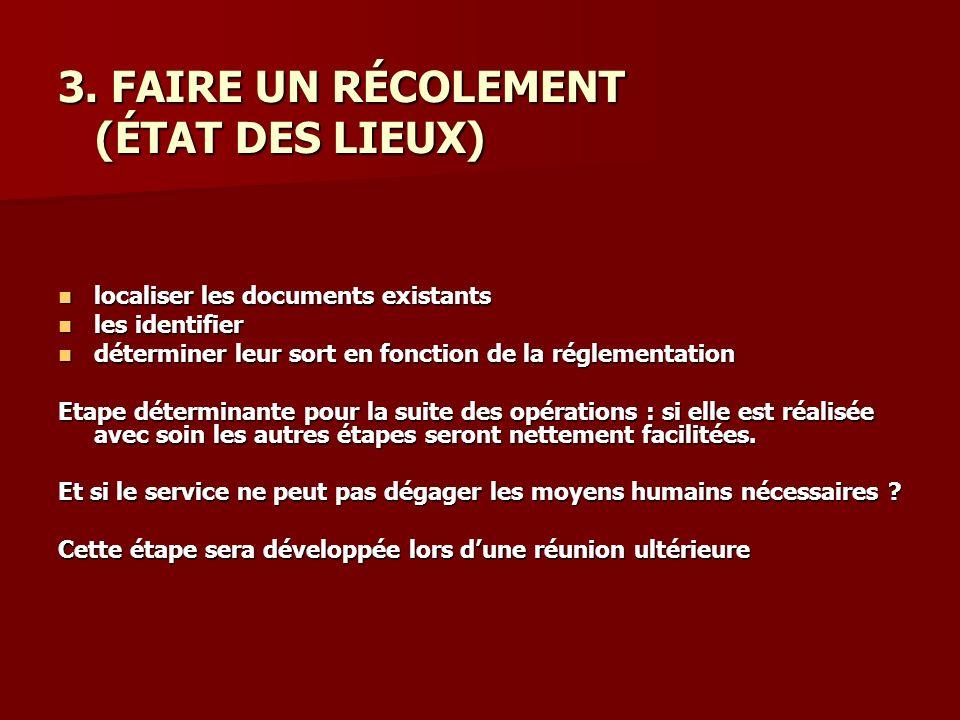 3. FAIRE UN RÉCOLEMENT (ÉTAT DES LIEUX) (ÉTAT DES LIEUX) localiser les documents existants localiser les documents existants les identifier les identi