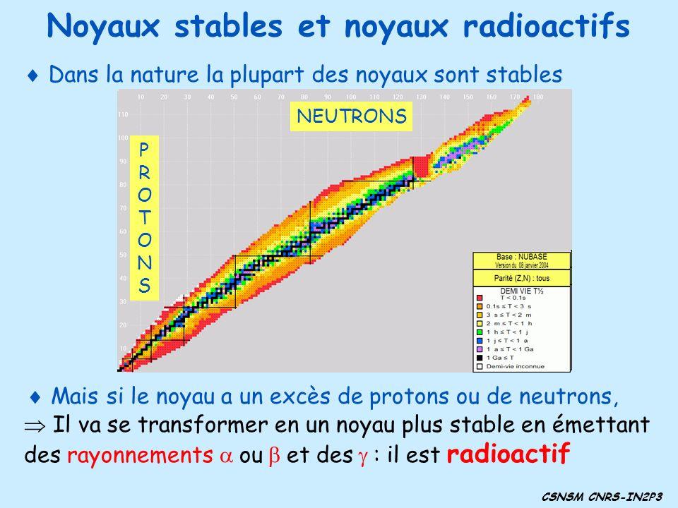 CSNSM CNRS-IN2P3 Noyaux stables et noyaux radioactifs Dans la nature la plupart des noyaux sont stables Mais si le noyau a un excès de protons ou de n