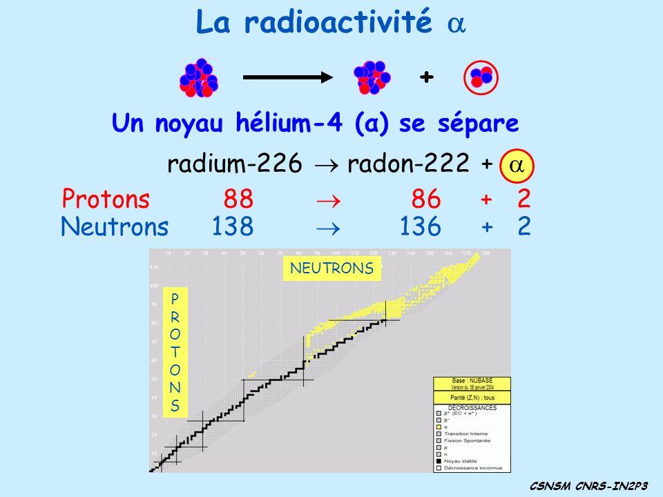 radium-226 radon-222 + Protons 88 86 + 2 Neutrons 138 136 + 2 Un noyau hélium-4 (α) se sépare + CSNSM CNRS-IN2P3 La radioactivité NEUTRONS PROTONSPROT