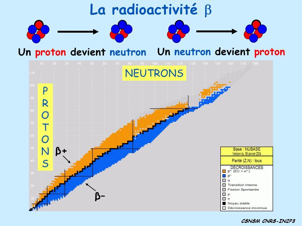 CSNSM CNRS-IN2P3 La radioactivité Fluor 18 oxygène 18 Radioactivité β + 9 protons 8 protons Un proton devient neutron Un neutron devient proton Azote