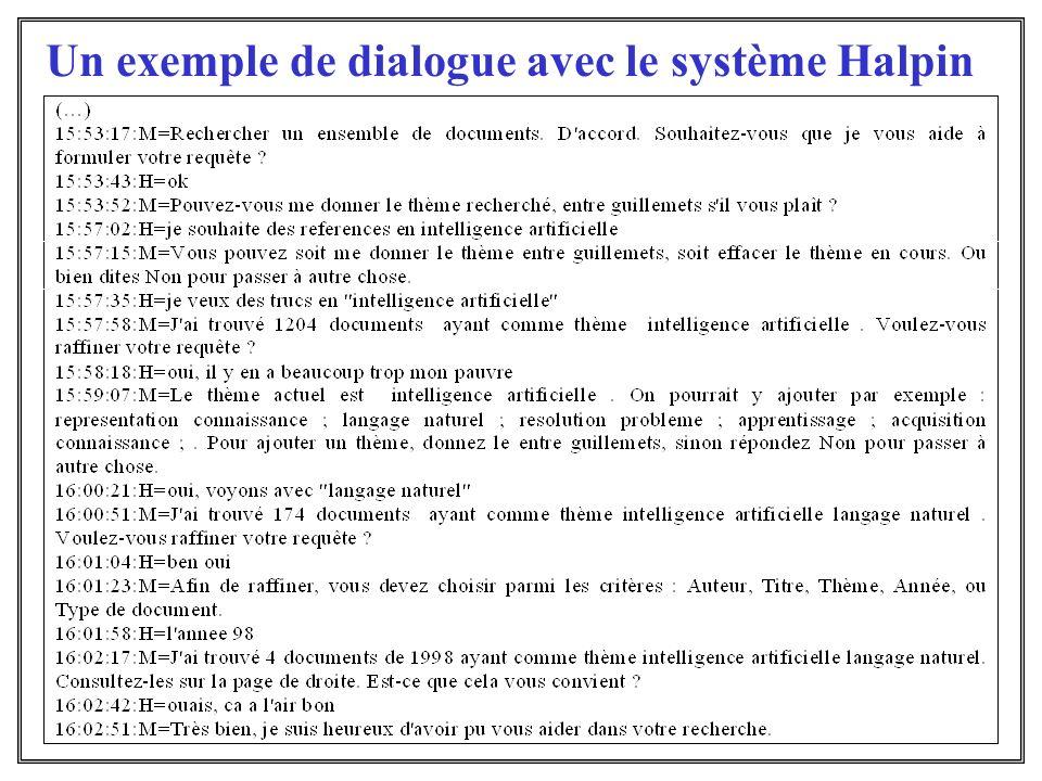 Un exemple de dialogue avec le système Halpin