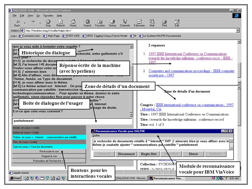 Historique du dialogue Boîte de dialogue de lusager Réponse écrite de la machine (avec hyperliens) Zone de détails dun document Boutons pour les inter