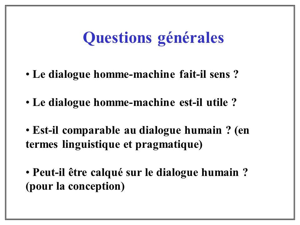 Questions générales Le dialogue homme-machine fait-il sens ? Le dialogue homme-machine est-il utile ? Est-il comparable au dialogue humain ? (en terme