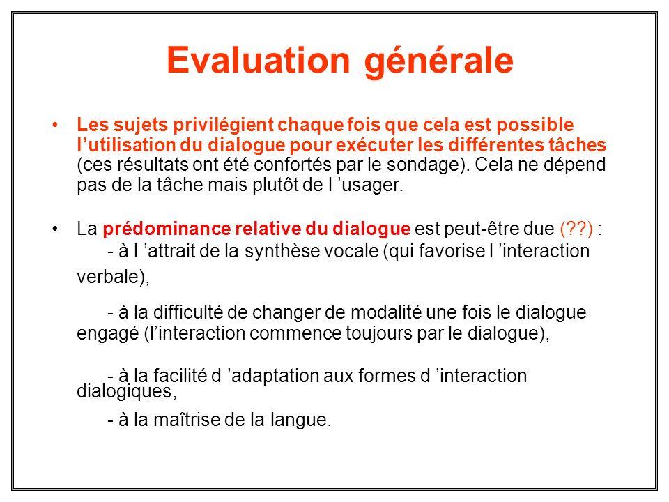 Evaluation générale Les sujets privilégient chaque fois que cela est possible lutilisation du dialogue pour exécuter les différentes tâches (ces résul