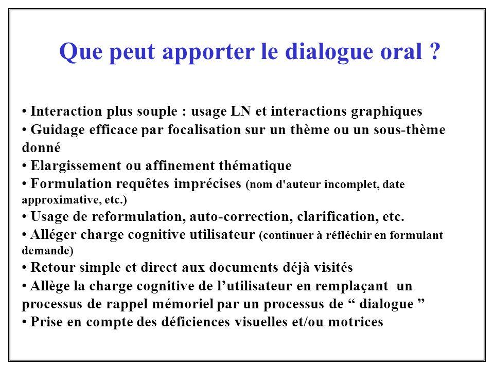 Interaction plus souple : usage LN et interactions graphiques Guidage efficace par focalisation sur un thème ou un sous-thème donné Elargissement ou a
