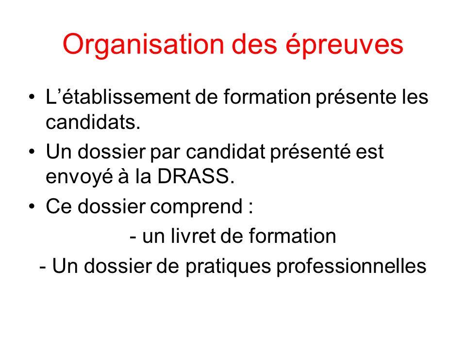 Organisation des épreuves Létablissement de formation présente les candidats.