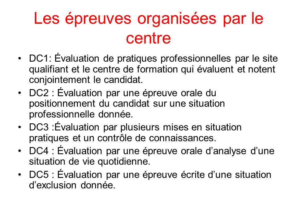 Les épreuves organisées par le centre DC1: Évaluation de pratiques professionnelles par le site qualifiant et le centre de formation qui évaluent et notent conjointement le candidat.