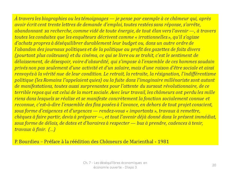 Ch. 7 - Les déséquilibres économiques en économie ouverte - Diapo 3 20 À travers les biographies ou les témoignages je pense par exemple à ce chômeur