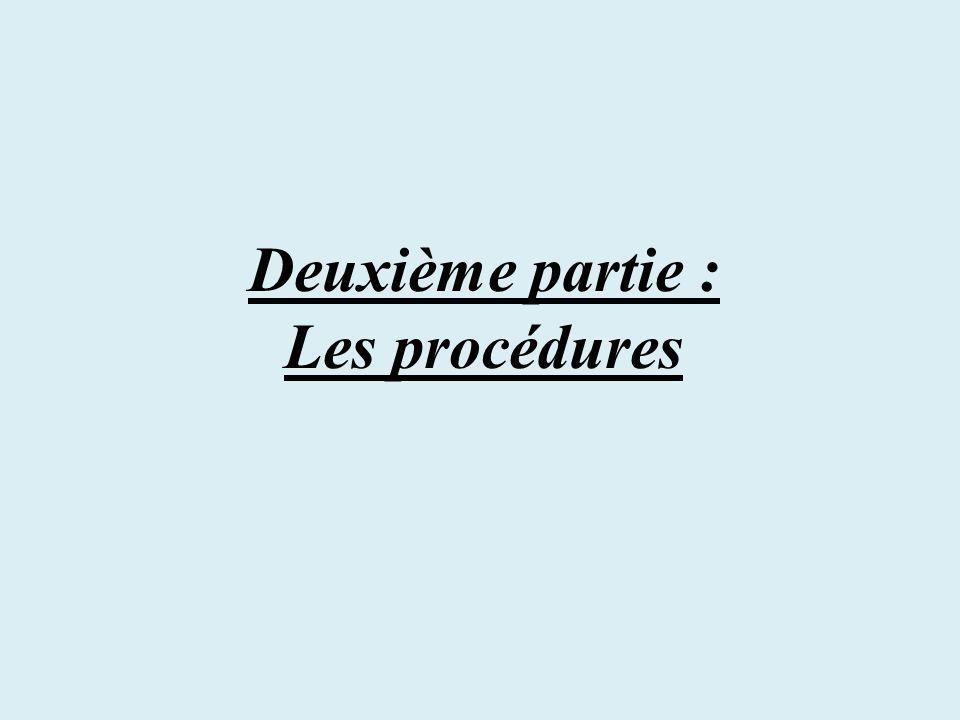 Deuxième partie : Les procédures