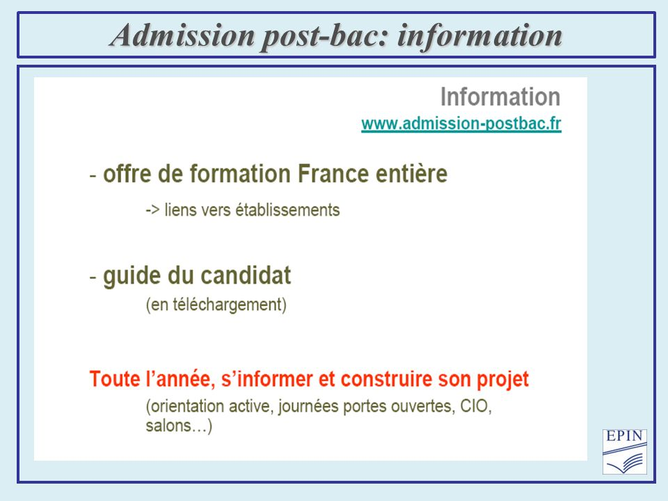 Admission post-bac: information
