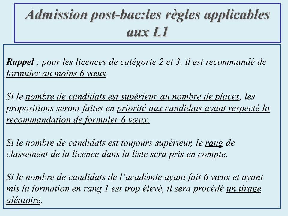 Rappel : pour les licences de catégorie 2 et 3, il est recommandé de formuler au moins 6 vœux.