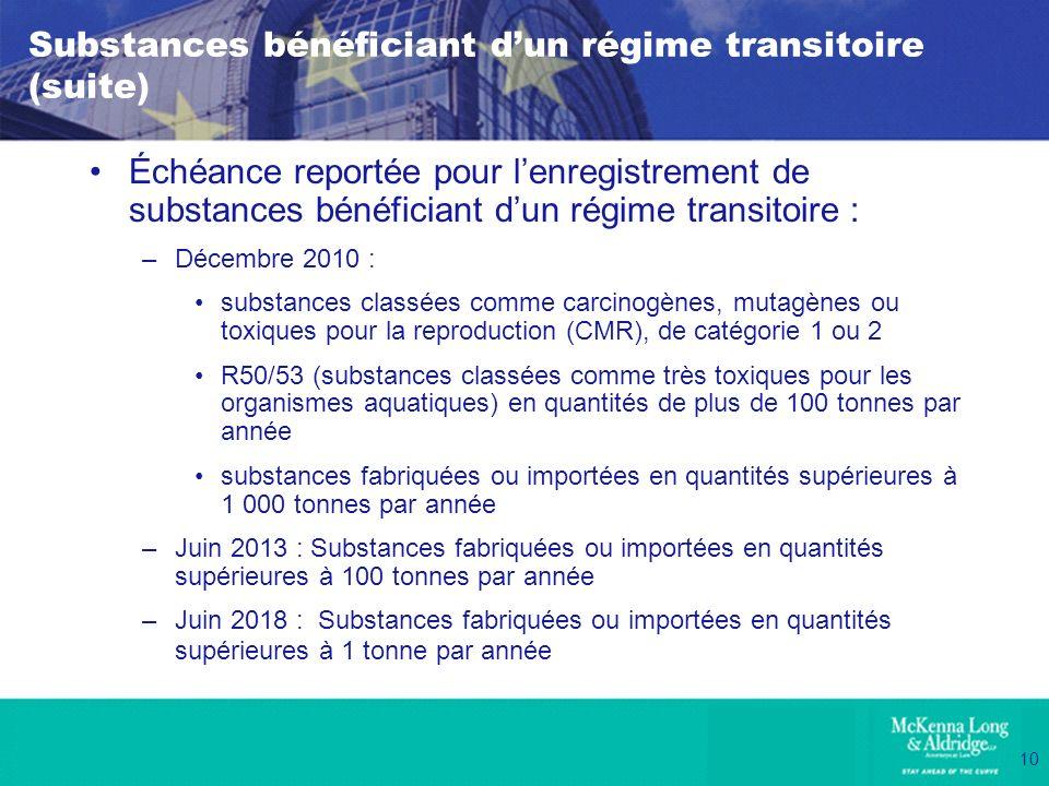10 Substances bénéficiant dun régime transitoire (suite) Échéance reportée pour lenregistrement de substances bénéficiant dun régime transitoire : –Dé