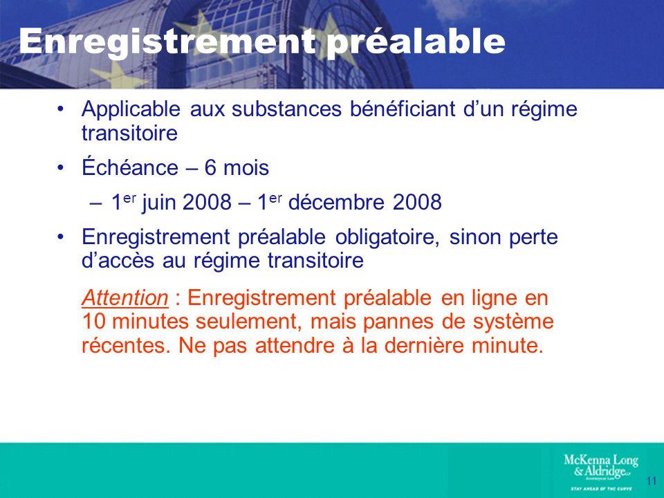 11 Enregistrement préalable Applicable aux substances bénéficiant dun régime transitoire Échéance – 6 mois –1 er juin 2008 – 1 er décembre 2008 Enregi