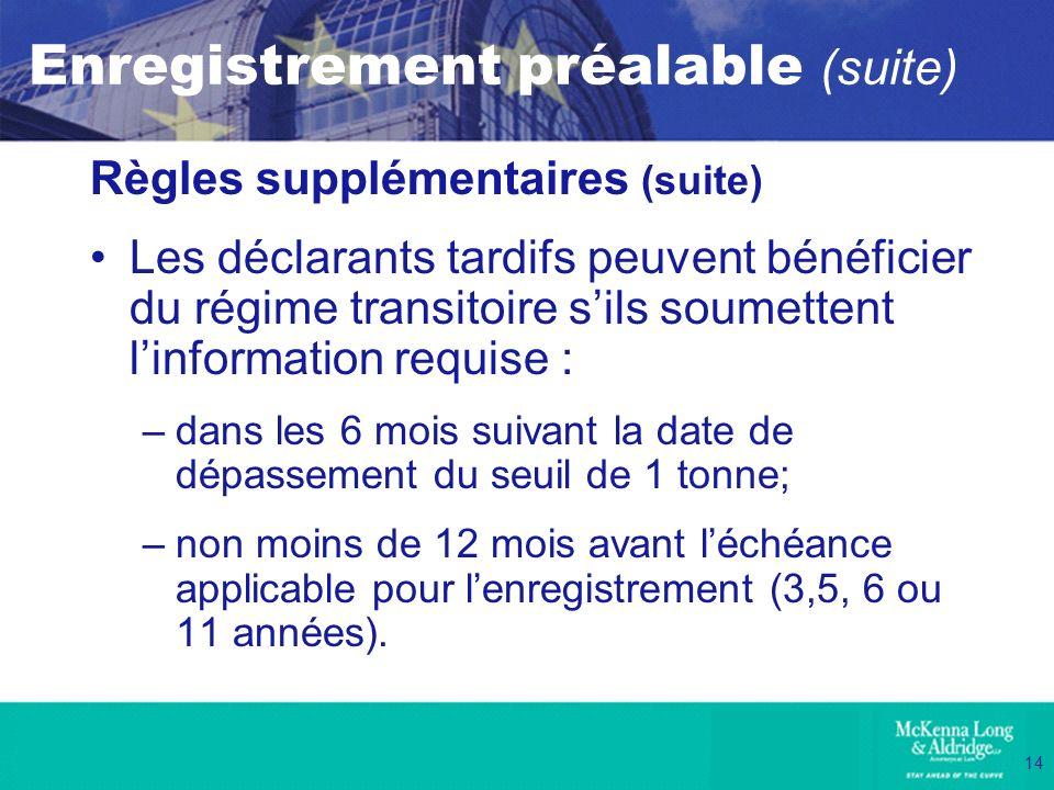14 Enregistrement préalable (suite) Règles supplémentaires (suite) Les déclarants tardifs peuvent bénéficier du régime transitoire sils soumettent lin