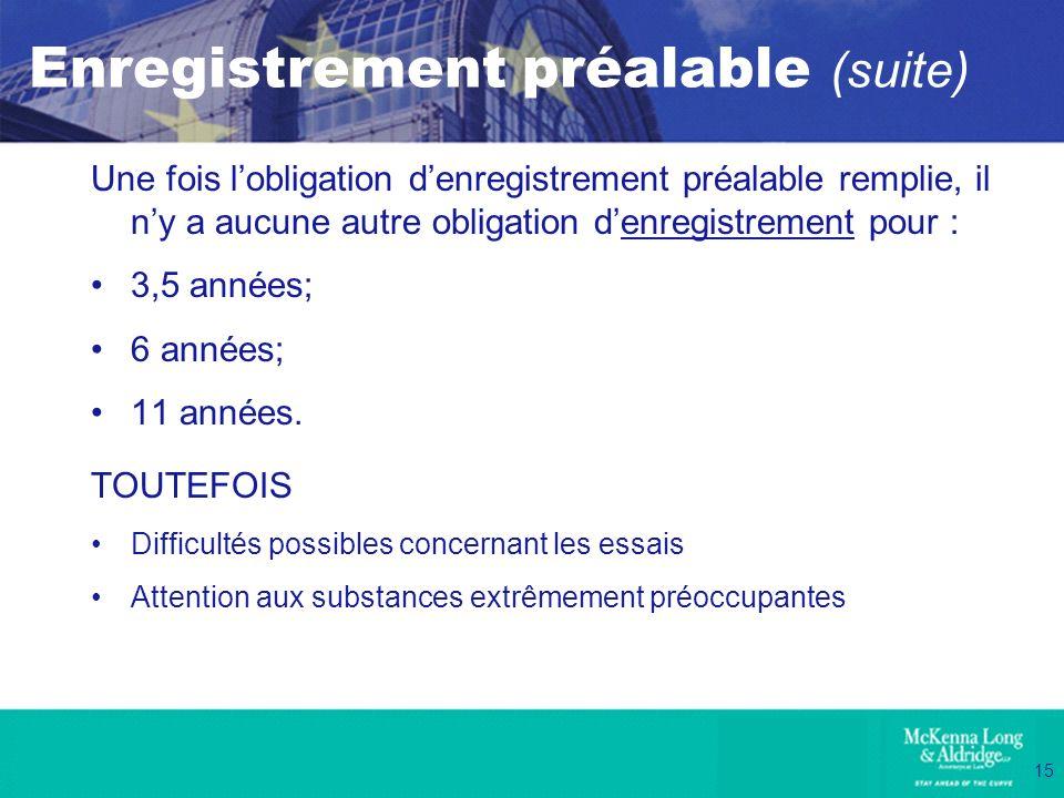 15 Enregistrement préalable (suite) Une fois lobligation denregistrement préalable remplie, il ny a aucune autre obligation denregistrement pour : 3,5