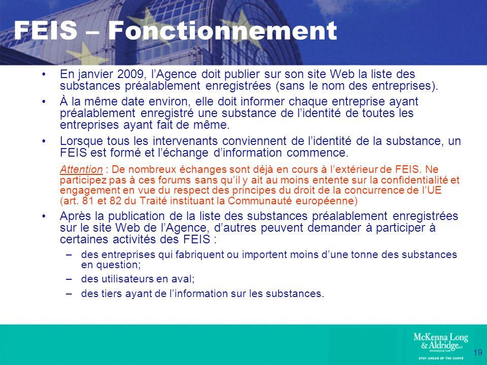19 FEIS – Fonctionnement En janvier 2009, lAgence doit publier sur son site Web la liste des substances préalablement enregistrées (sans le nom des en