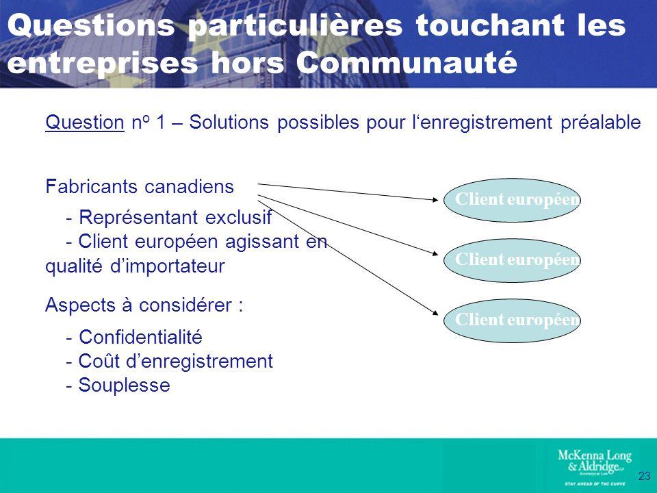 23 Question n o 1 – Solutions possibles pour lenregistrement préalable Fabricants canadiens - Représentant exclusif - Client européen agissant en qual