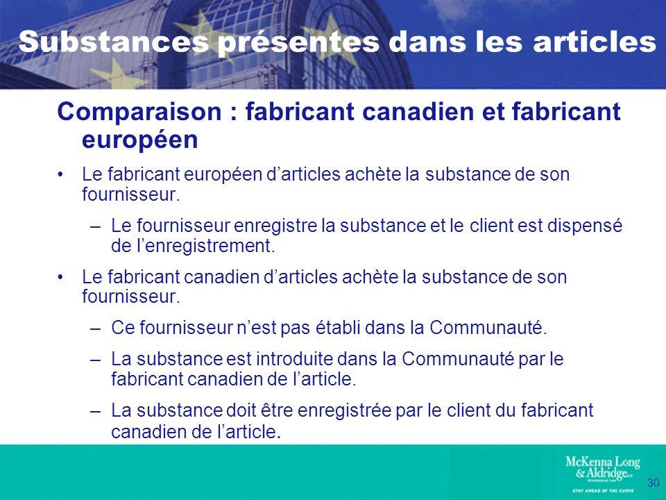 30 Substances présentes dans les articles Comparaison : fabricant canadien et fabricant européen Le fabricant européen darticles achète la substance d