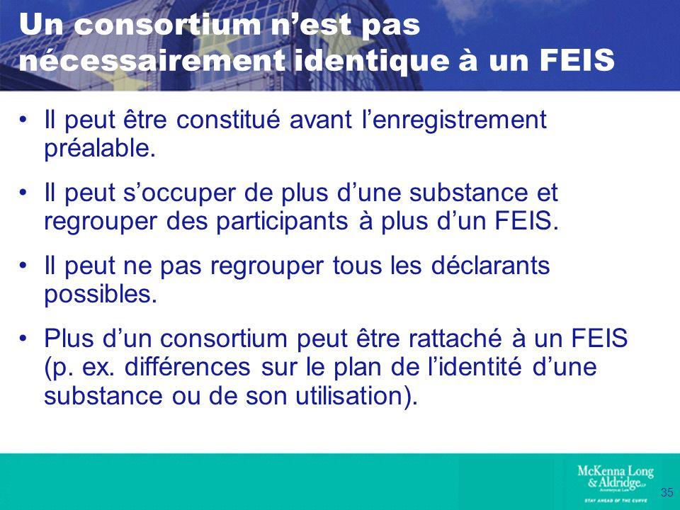 35 Un consortium nest pas nécessairement identique à un FEIS Il peut être constitué avant lenregistrement préalable. Il peut soccuper de plus dune sub