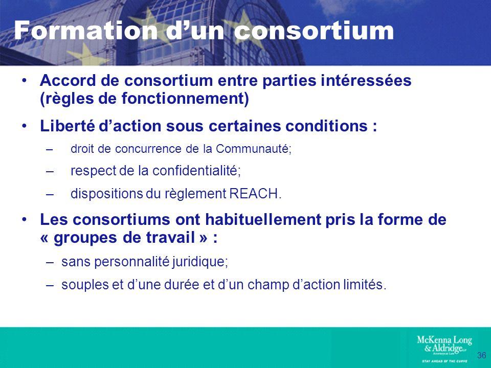36 Formation dun consortium Accord de consortium entre parties intéressées (règles de fonctionnement) Liberté daction sous certaines conditions : –dro