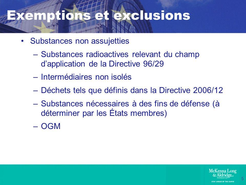 5 Exemptions et exclusions Substances non assujetties –Substances radioactives relevant du champ dapplication de la Directive 96/29 –Intermédiaires no