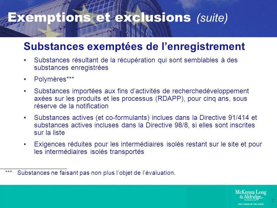 7 Exemptions et exclusions (suite) Substances exemptées de lenregistrement Substances résultant de la récupération qui sont semblables à des substance