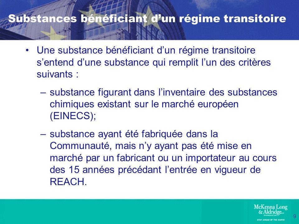 9 Substances bénéficiant dun régime transitoire Une substance bénéficiant dun régime transitoire sentend dune substance qui remplit lun des critères s