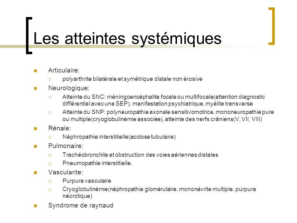 Les atteintes systémiques Articulaire: polyarthrite bilatérale et symétrique distale non érosive Neurologique: Atteinte du SNC: méningoencéphalite foc