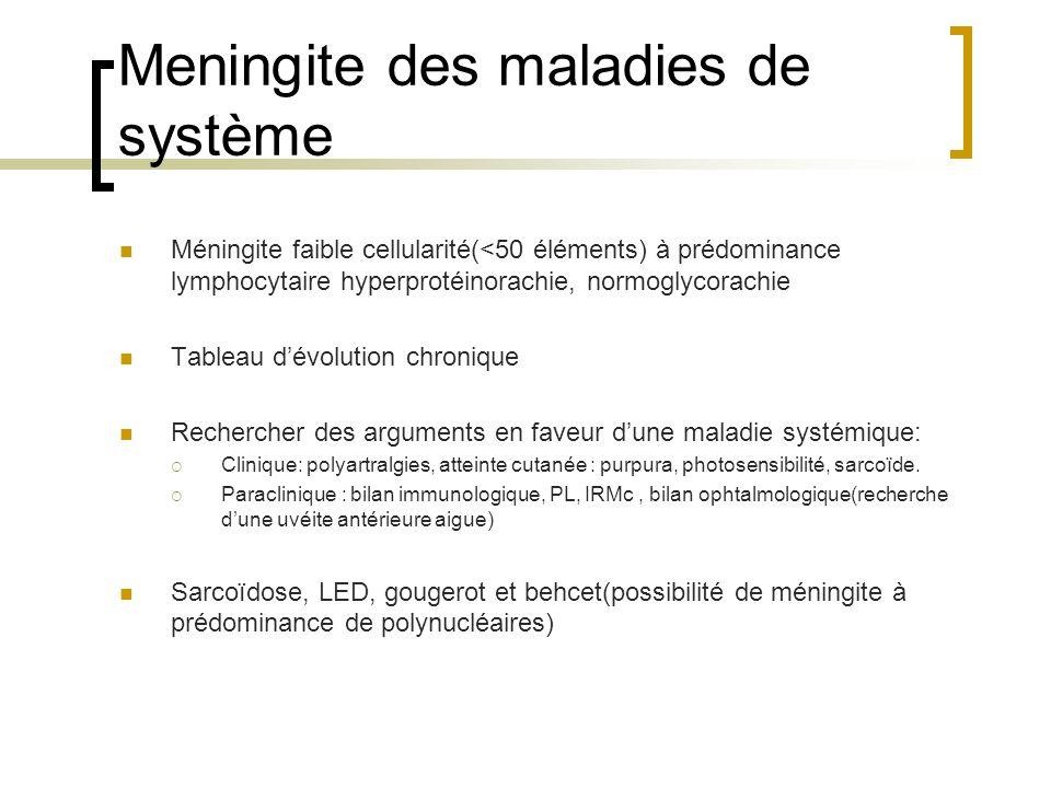 Meningite des maladies de système Méningite faible cellularité(<50 éléments) à prédominance lymphocytaire hyperprotéinorachie, normoglycorachie Tablea