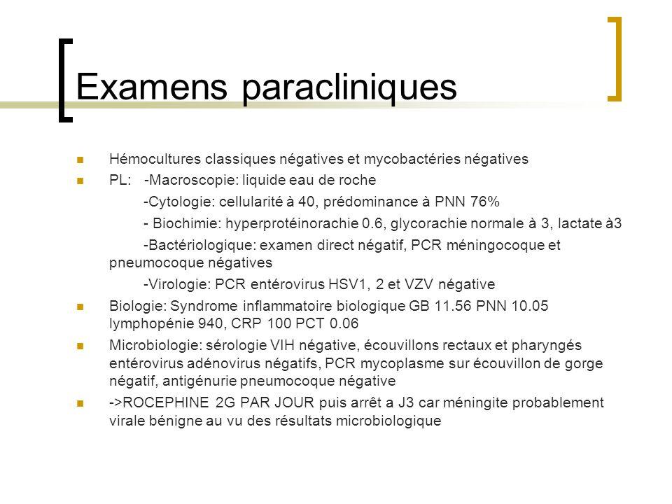 Examens paracliniques Hémocultures classiques négatives et mycobactéries négatives PL: -Macroscopie: liquide eau de roche -Cytologie: cellularité à 40