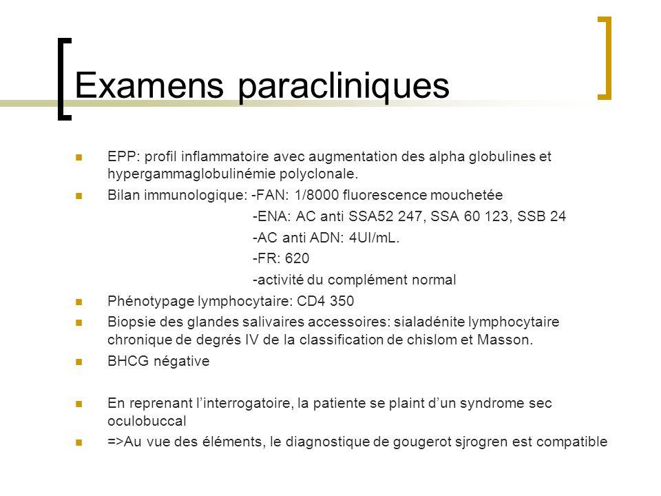 Examens paracliniques EPP: profil inflammatoire avec augmentation des alpha globulines et hypergammaglobulinémie polyclonale. Bilan immunologique: -FA