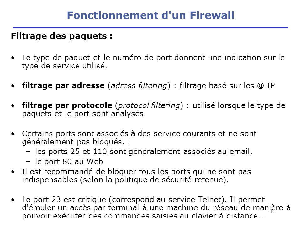 11 Filtrage des paquets : Le type de paquet et le numéro de port donnent une indication sur le type de service utilisé. filtrage par adresse (adress f