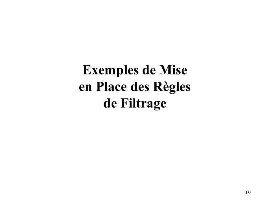 19 Exemples de Mise en Place des Règles de Filtrage