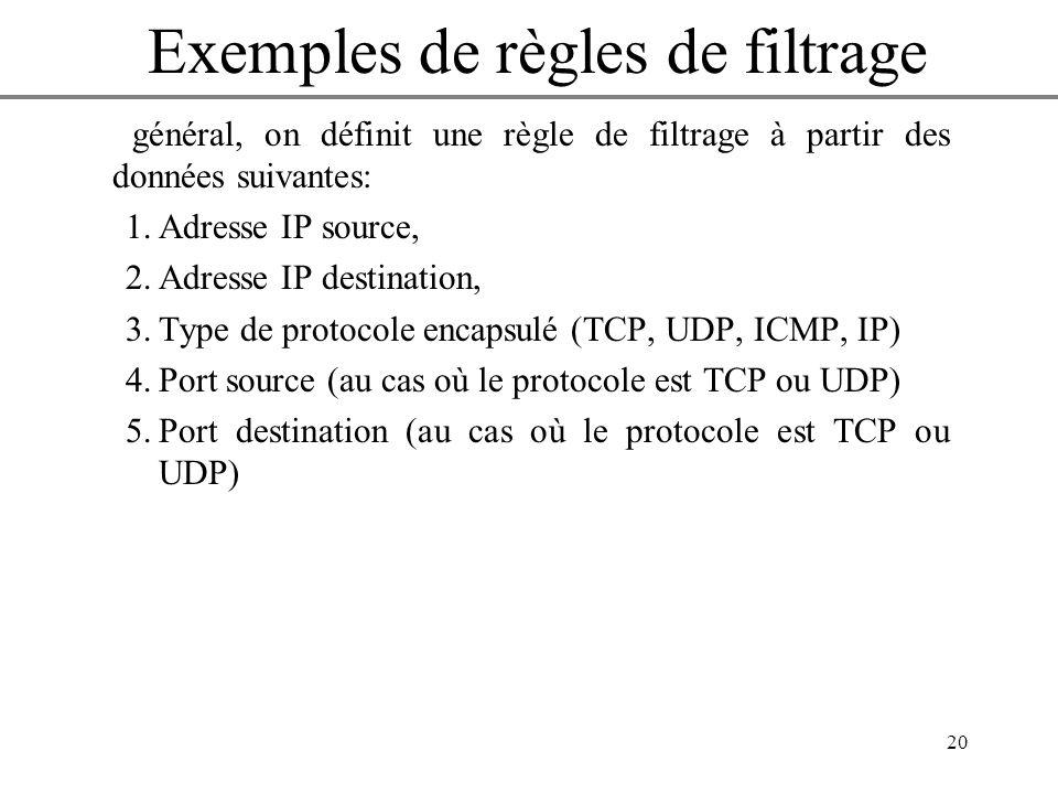 20 En général, on définit une règle de filtrage à partir des données suivantes: 1.Adresse IP source, 2.Adresse IP destination, 3.Type de protocole enc