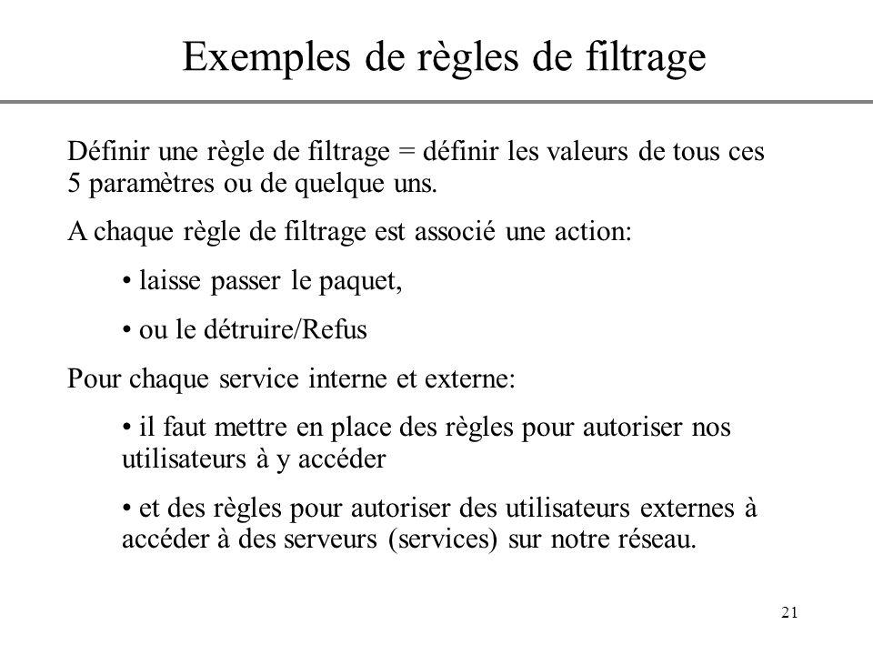 21 Définir une règle de filtrage = définir les valeurs de tous ces 5 paramètres ou de quelque uns. A chaque règle de filtrage est associé une action: