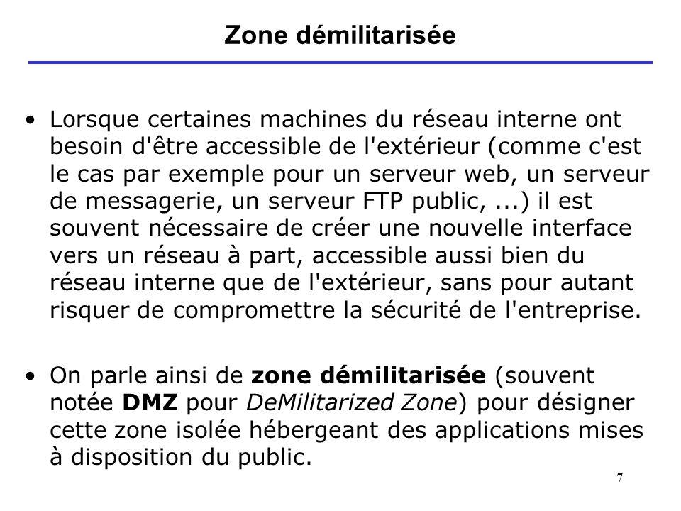 7 Zone démilitarisée Lorsque certaines machines du réseau interne ont besoin d'être accessible de l'extérieur (comme c'est le cas par exemple pour un