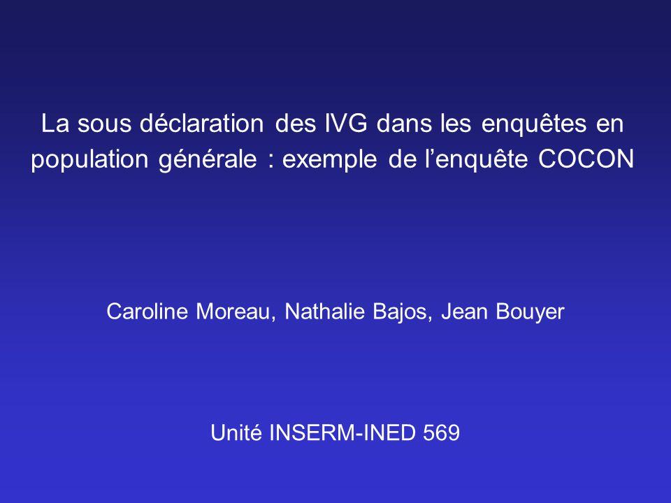 La sous déclaration des IVG dans les enquêtes en population générale : exemple de lenquête COCON Caroline Moreau, Nathalie Bajos, Jean Bouyer Unité IN