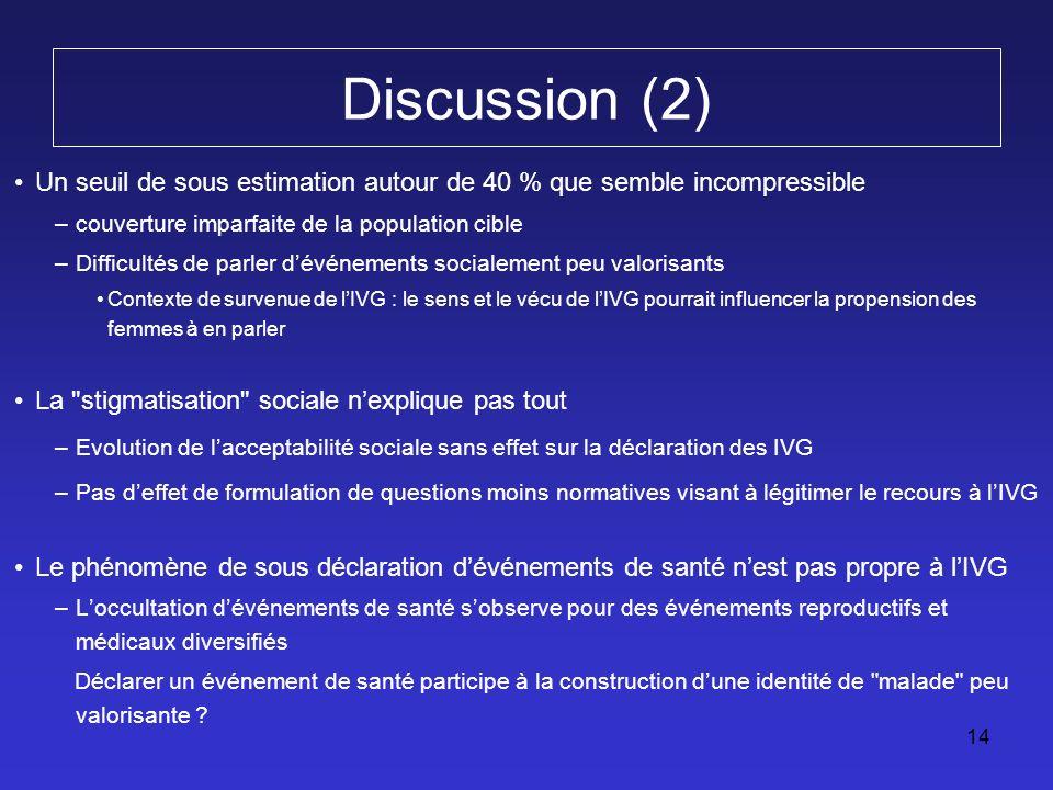14 Discussion (2) Un seuil de sous estimation autour de 40 % que semble incompressible –couverture imparfaite de la population cible –Difficultés de p