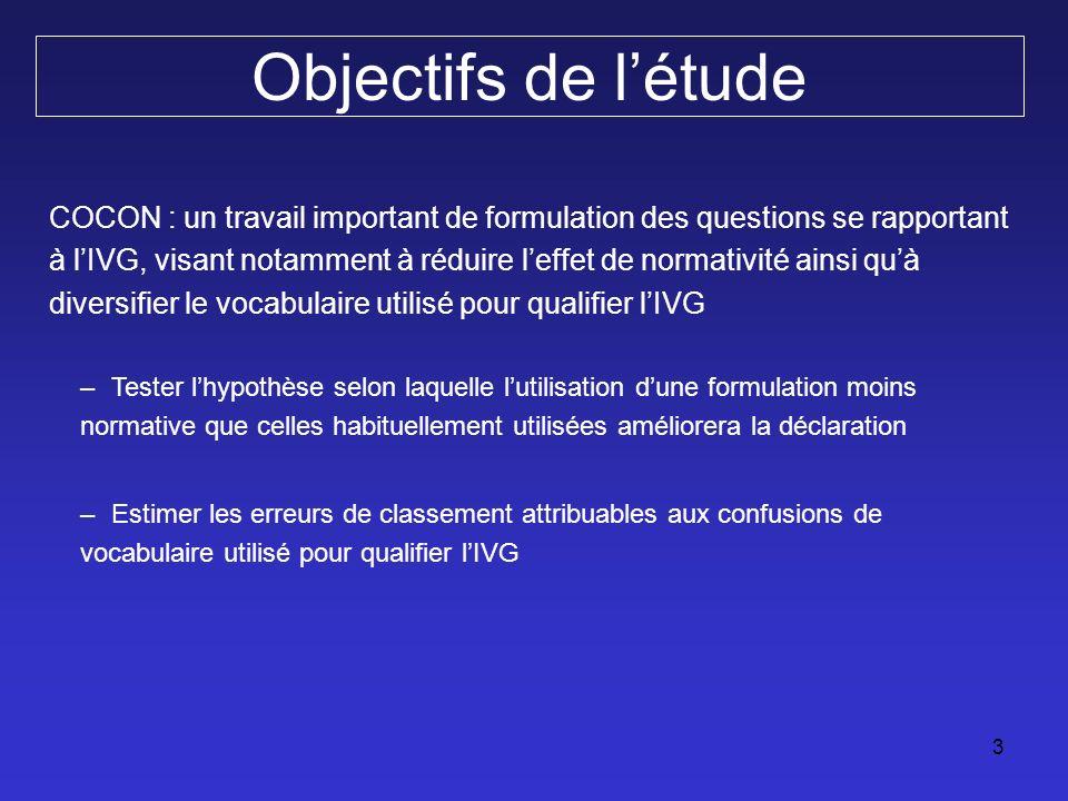 4 Population Enquête COCON (Cohorte Contraception) Enquête socio-épidémiologique de cohorte sur les pratiques contraceptives et le recours à lIVG en France.