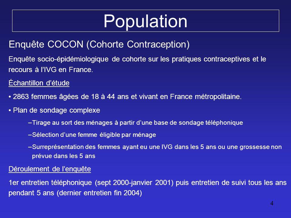 4 Population Enquête COCON (Cohorte Contraception) Enquête socio-épidémiologique de cohorte sur les pratiques contraceptives et le recours à lIVG en F