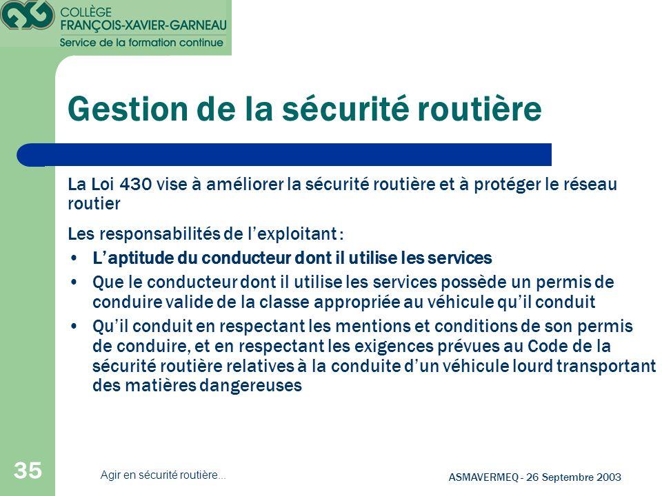 35 ASMAVERMEQ - 26 Septembre 2003 Agir en sécurité routière... Les responsabilités de lexploitant : Laptitude du conducteur dont il utilise les servic