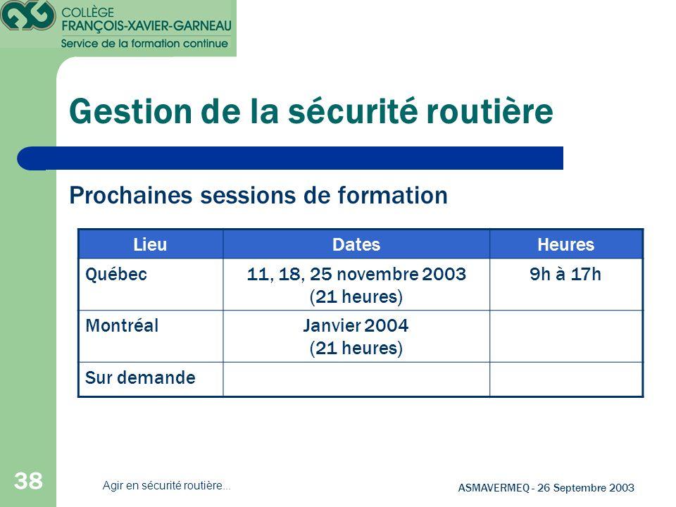 38 ASMAVERMEQ - 26 Septembre 2003 Agir en sécurité routière... Gestion de la sécurité routière Prochaines sessions de formation LieuDatesHeures Québec